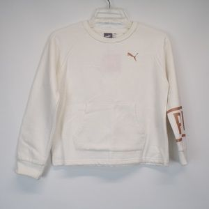 PUMA Gold Letters & Off White Pullover Sweater
